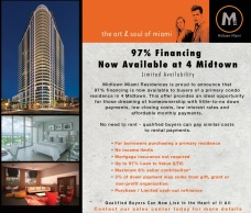 97% financing now available @ Midtown 4 Miami for buyers. Contact us today!
